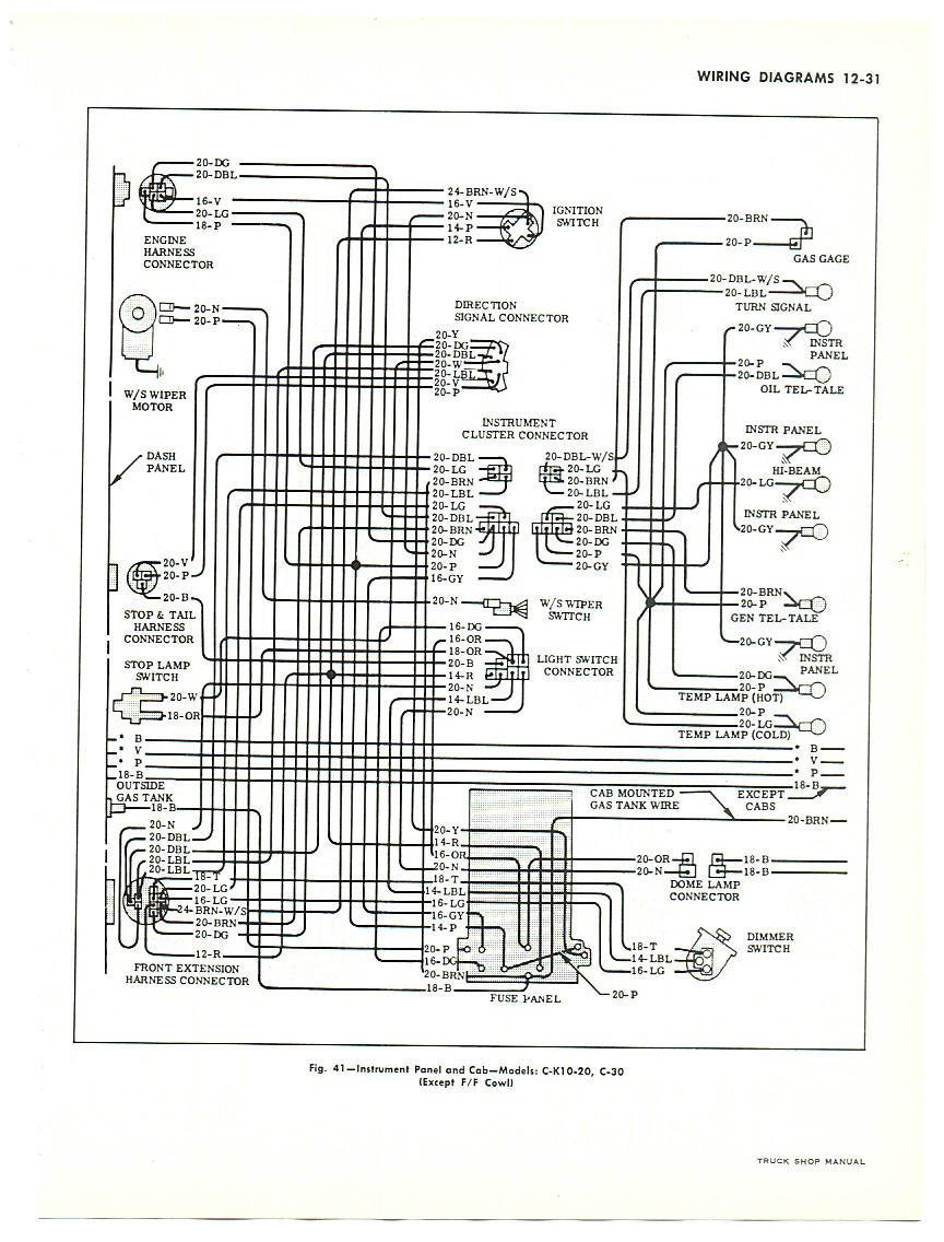Chevy Wiring Harness Diagram For 66 6 Cylinder Library Truck 1963 Dash Cab With Warning Lights