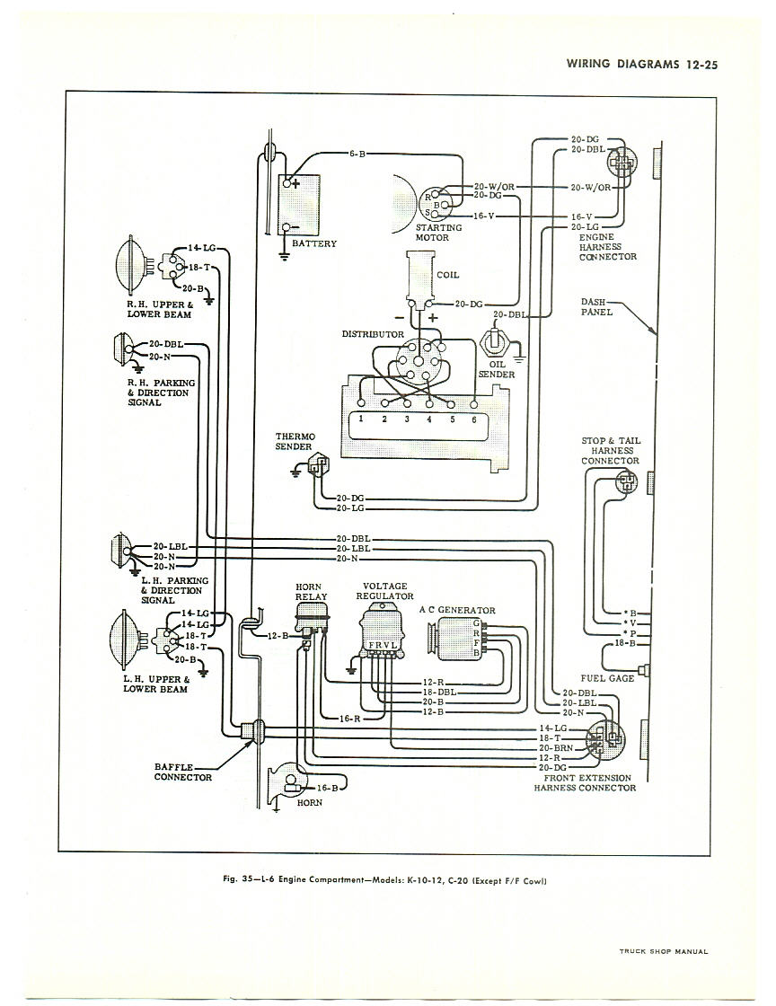 ray's chevy restoration site gauges in a '66 chevy truck 1963 Chevy Truck Wiring Diagram 1963 engine compartment (v8) with gauges note this diagram is for large trucks but is similar to pick up truck wiring 1963 chevy truck wiring diagram