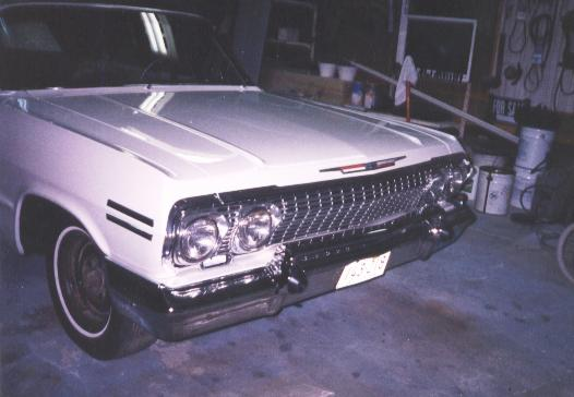 Photo of the front trim pieces/grille put back on after paint
