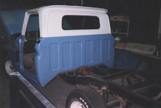 Photo showing the back of the cab painted