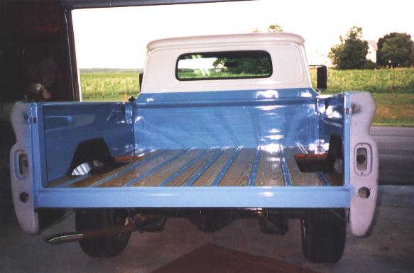 Photo of the finished bed back on the truck