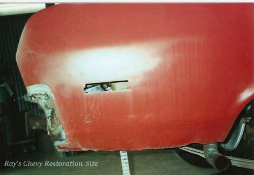 Photo of the bondo on the old quarter panel