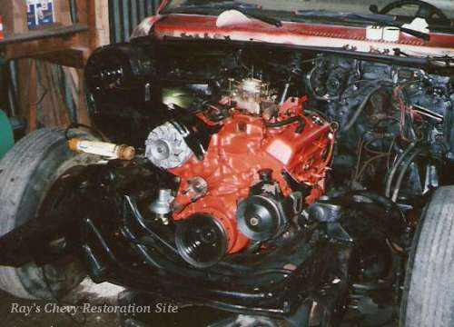 Photo of the 350 engine in my 74 Nova