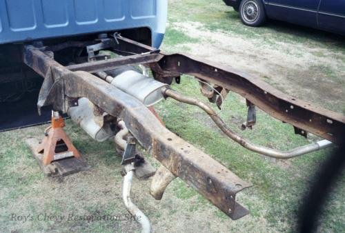 Photo of rear frame during restoration